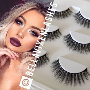 Other - 3 Pairs Faux Mink Clear Band Lashes